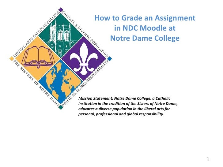 How to Grade an Assignment <br />in NDC Moodle at<br />Notre Dame College<br />Mission Statement: Notre Dame College, a Ca...