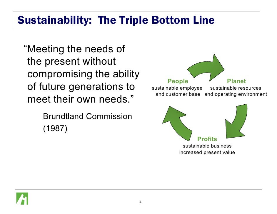 """Sustainability: The Triple Bottom Line   """"Meeting the needs of   the present without   compromising the ability           ..."""