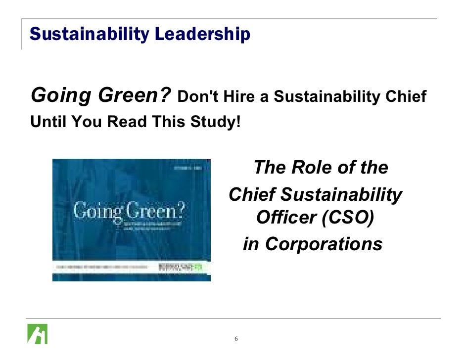 Sustainability Leadership   Going Green? Don't Hire a Sustainability Chief Until You Read This Study!                     ...
