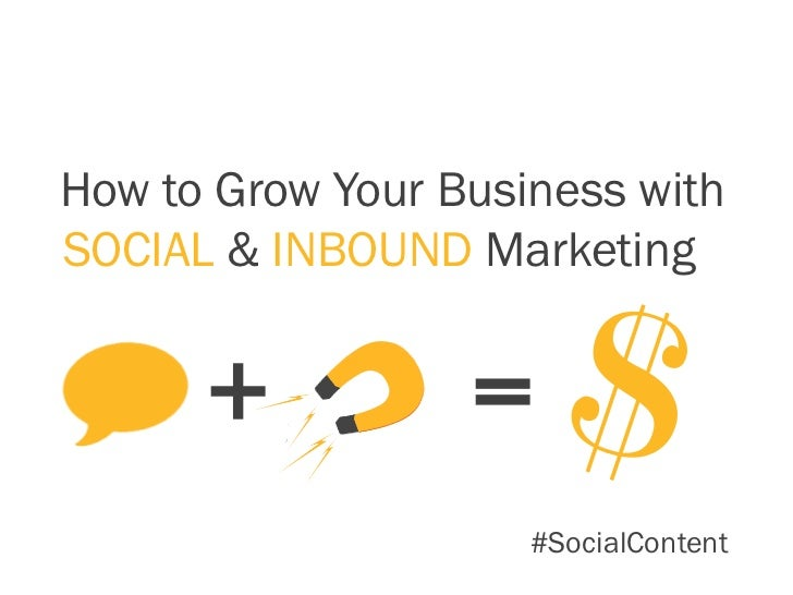How to Grow Your Business withSOCIAL & INBOUND Marketing      +           =                     #SocialContent