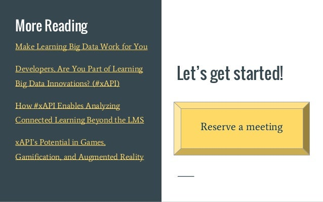 Let's get started! More Reading Reserve a meeting Make Learning Big Data Work for You Developers, Are You Part of Learning...