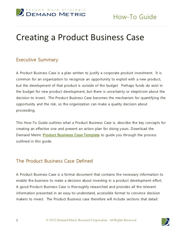 How to guide creating a product business case how to guidecreating a product business caseexecutive summarya product business case is a plan written cheaphphosting Choice Image