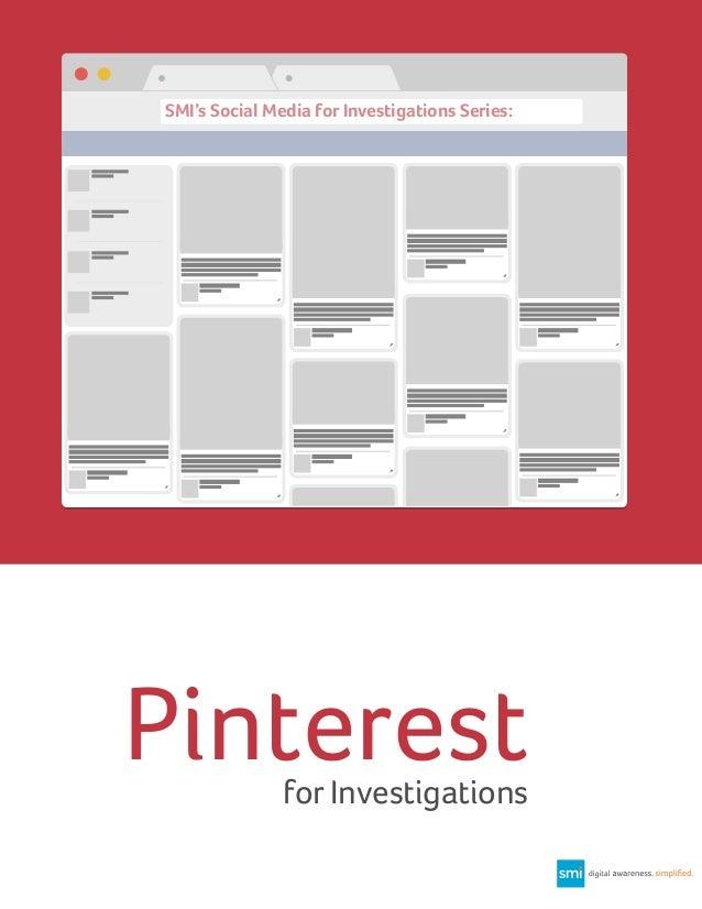 SMI's Social Media for Investigations Series:  Pinterest for Investigations