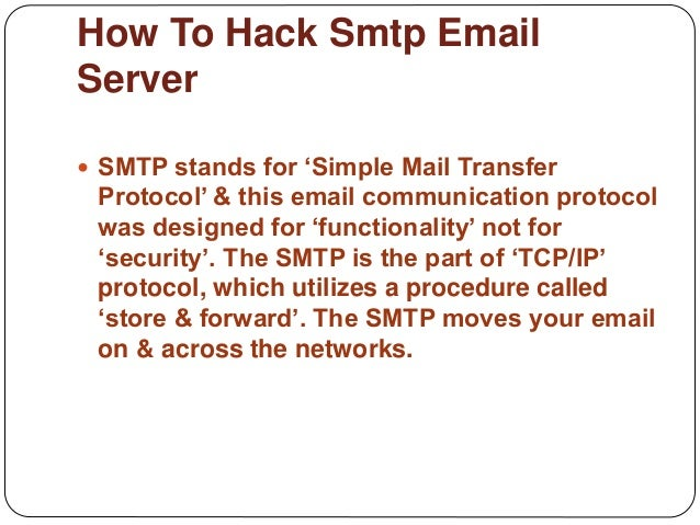 How To Hack Smtp Email Server