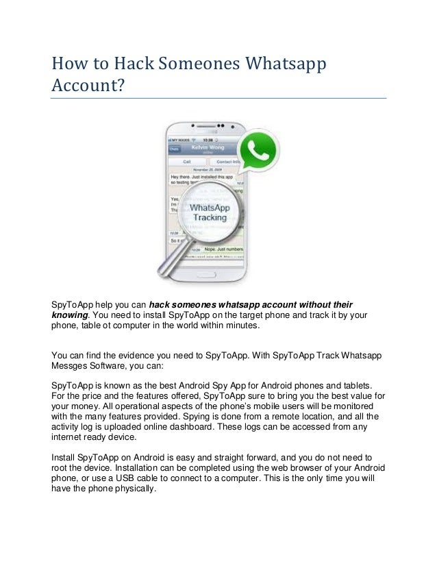 How to hack someones whatsapp account