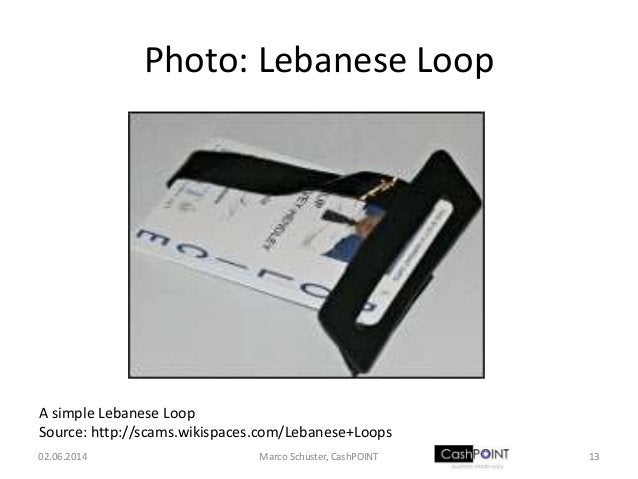 Photo: Lebanese Loop 02.06.2014 13Marco Schuster, CashPOINT A simple Lebanese Loop Source: http://scams.wikispaces.com/Leb...