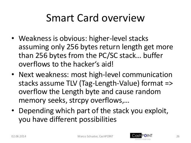 Smart Card overview • Weakness is obvious: higher-level stacks assuming only 256 bytes return length get more than 256 byt...
