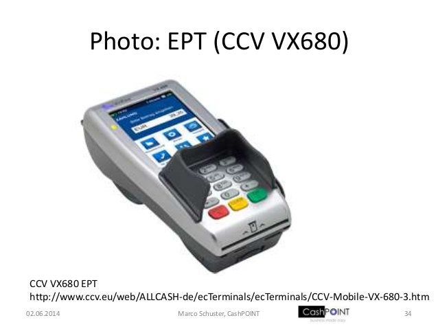 Photo: EPT (CCV VX680) CCV VX680 EPT http://www.ccv.eu/web/ALLCASH-de/ecTerminals/ecTerminals/CCV-Mobile-VX-680-3.htm 02.0...