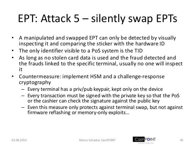 EPT: Attack 5 – silently swap EPTs • A manipulated and swapped EPT can only be detected by visually inspecting it and comp...