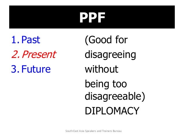 PPF 1. Past (Good for 2. Present disagreeing 3. Future without being too disagreeable) DIPLOMACY South East Asia Speakers ...