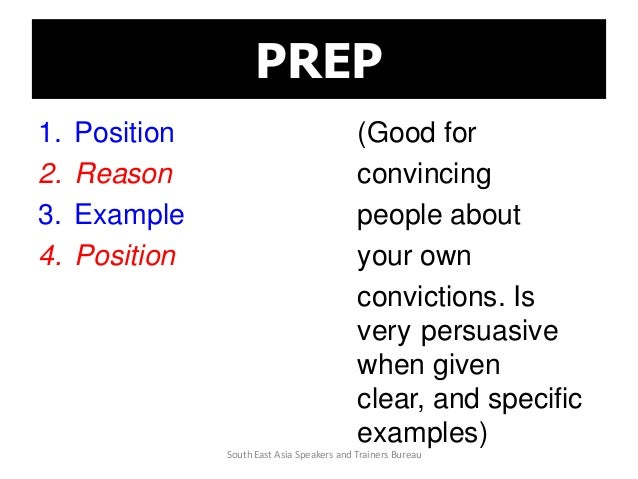 PREP 1. Position (Good for 2. Reason convincing 3. Example people about 4. Position your own convictions. Is very persuasi...