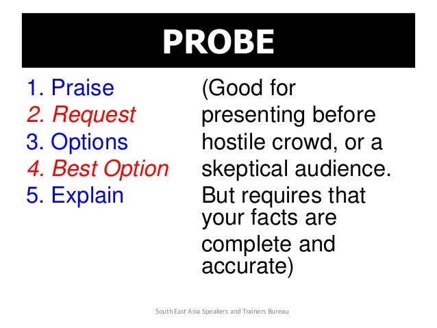 PROBE 1. Praise (Good for 2. Request presenting before 3. Options hostile crowd, or a 4. Best Option skeptical audience. 5...