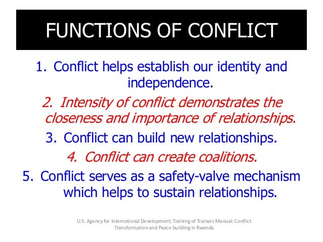 FUNCTIONS OF CONFLICT 1. Conflict helps establish our identity and independence. 2. Intensity of conflict demonstrates the...