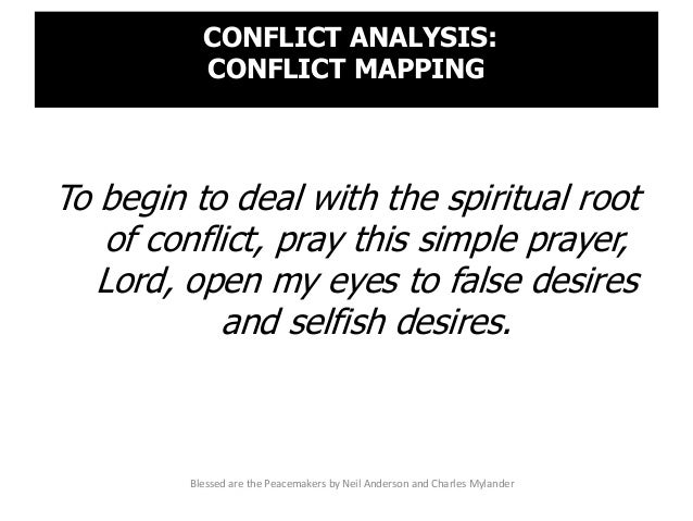 CONFLICT ANALYSIS: CONFLICT MAPPING To begin to deal with the spiritual root of conflict, pray this simple prayer, Lord, o...