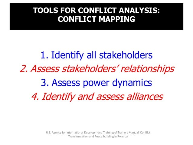 TOOLS FOR CONFLICT ANALYSIS: CONFLICT MAPPING 1. Identify all stakeholders 2. Assess stakeholders' relationships 3. Assess...