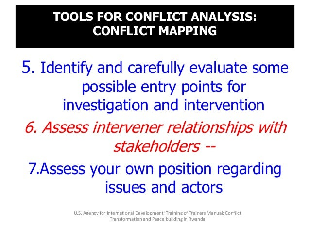 TOOLS FOR CONFLICT ANALYSIS: CONFLICT MAPPING 5. Identify and carefully evaluate some possible entry points for investigat...