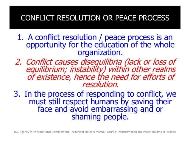 CONFLICT RESOLUTION OR PEACE PROCESS 1. A conflict resolution / peace process is an opportunity for the education of the w...