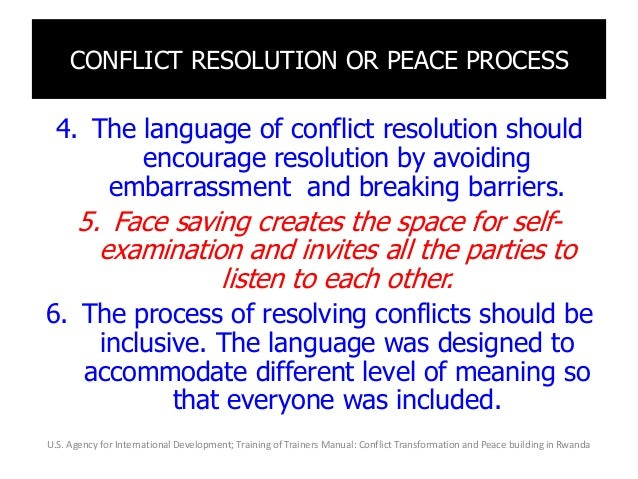 CONFLICT RESOLUTION OR PEACE PROCESS 4. The language of conflict resolution should encourage resolution by avoiding embarr...