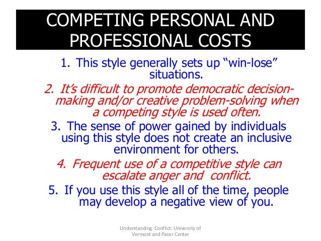 """COMPETING PERSONAL AND PROFESSIONAL COSTS 1. This style generally sets up """"win-lose"""" situations. 2. It's difficult to prom..."""