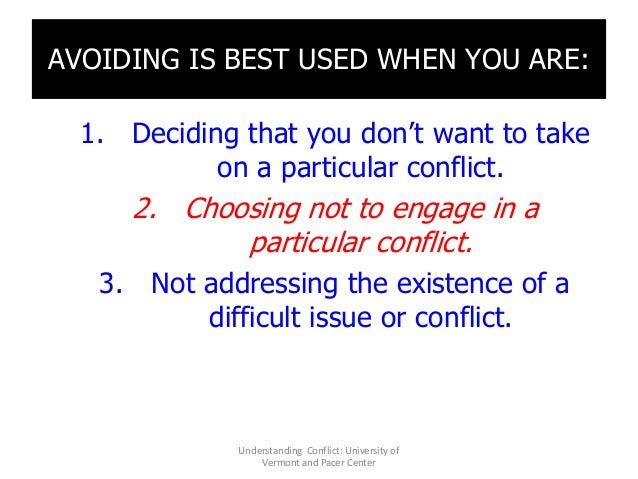 AVOIDING IS BEST USED WHEN YOU ARE: 1. Deciding that you don't want to take on a particular conflict. 2. Choosing not to e...