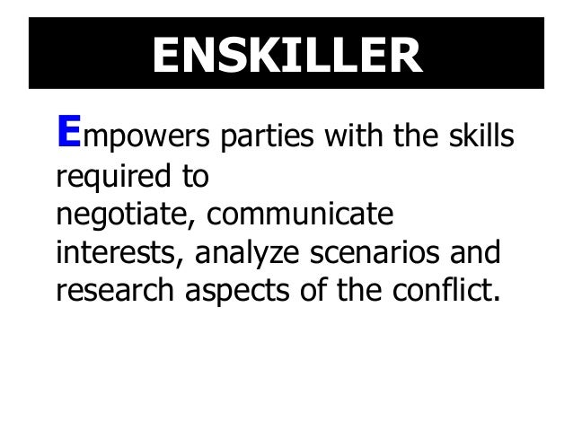 ENSKILLER Empowers parties with the skills required to negotiate, communicate interests, analyze scenarios and research as...