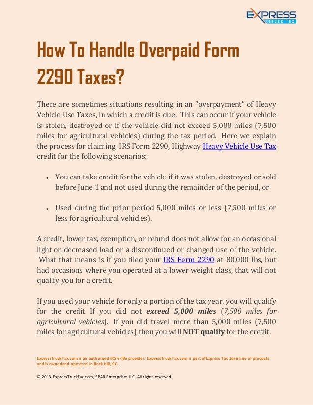 How To Handle Overpaid Highway Heavy Vehicle Use Tax Form 2290