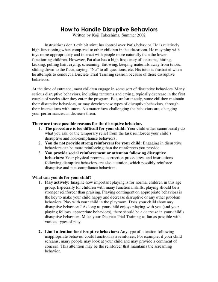 How to Handle Disruptive Behaviors                        Written by Koji Takeshima, Summer 2002        Instructions don't...