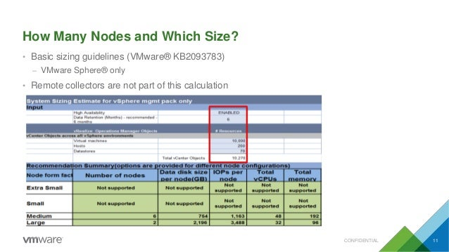 How Many Nodes and Which Size? • Basic sizing guidelines (VMware® KB2093783) – VMware Sphere® only • Remote collectors are...