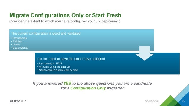 Migrate Configurations Only or Start Fresh Consider the extent to which you have configured your 5.x deployment CONFIDENTI...