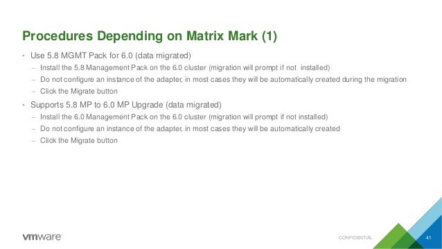 Procedures Depending on Matrix Mark (1) CONFIDENTIAL 41 • Use 5.8 MGMT Pack for 6.0 (data migrated) – Install the 5.8 Mana...