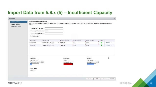 Import Data from 5.8.x (5) – Insufficient Capacity CONFIDENTIAL 55