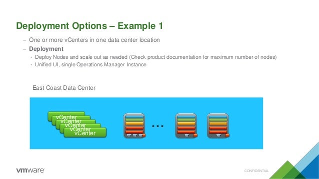 Deployment Options – Example 1 – One or more vCenters in one data center location – Deployment • Deploy Nodes and scale ou...