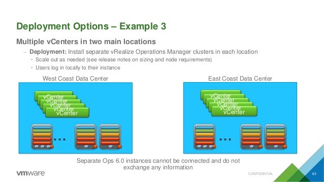 Deployment Options – Example 3 Multiple vCenters in two main locations – Deployment: Install separate vRealize Operations ...