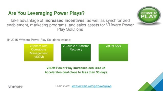 vSphere with Operations Management (vSOM) vCloud Air Disaster Recovery Virtual SAN Take advantage of increased incentives,...