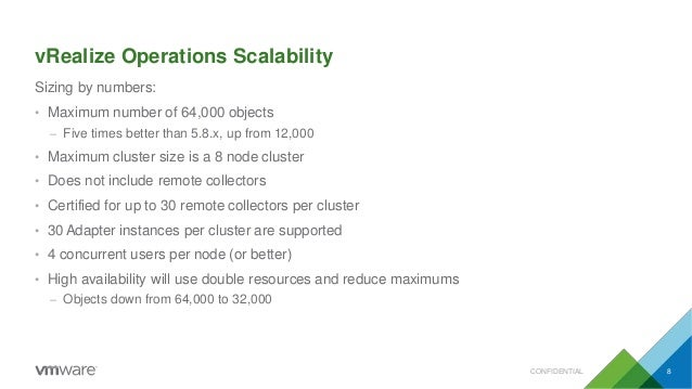 vRealize Operations Scalability CONFIDENTIAL 8 Sizing by numbers: • Maximum number of 64,000 objects – Five times better t...