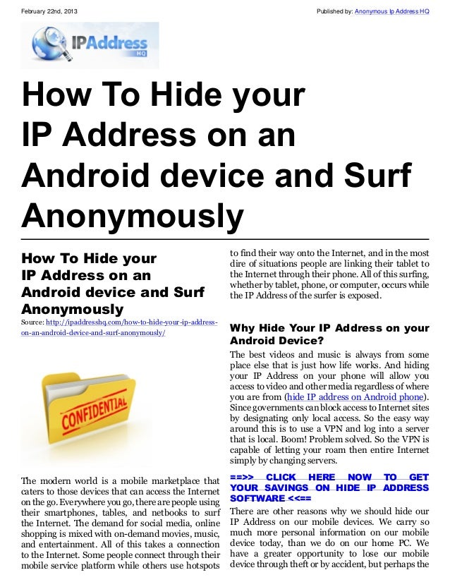how to hide my ip address on android