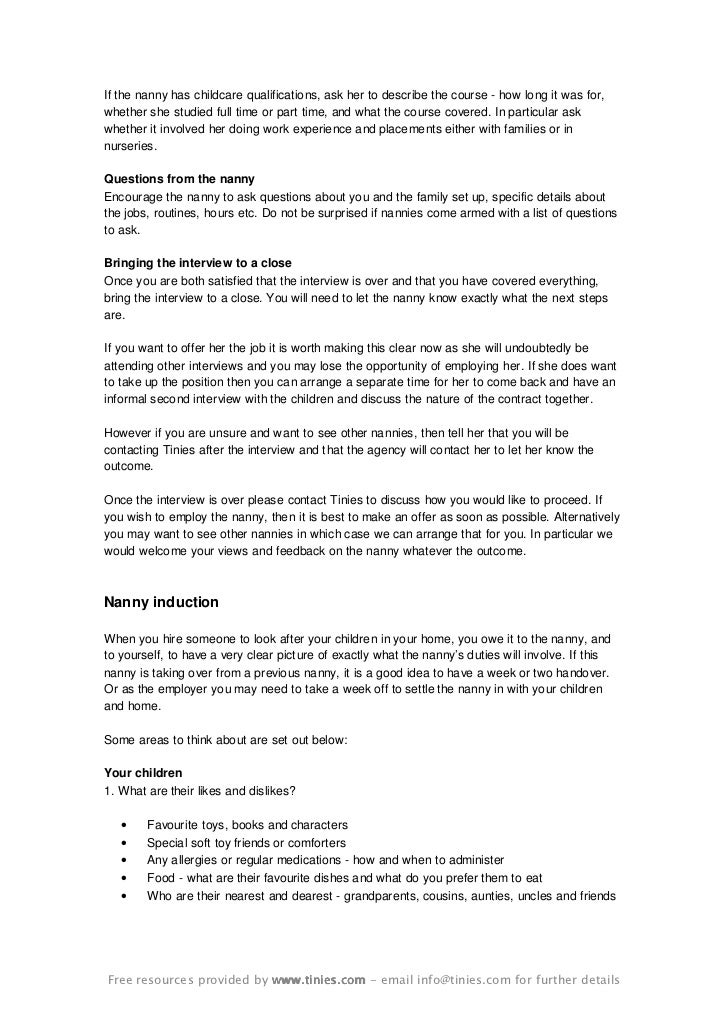 further details 5 if the nanny - Nanny Interview Questions For A Nanny How To Interview Nannies