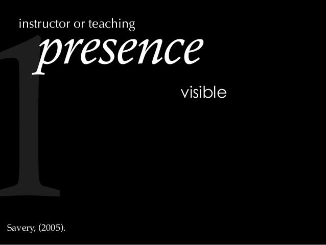 presence visible Savery, (2005). instructor or teaching 1