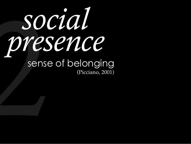 sense of belonging social presence (Picciano, 2001) 2