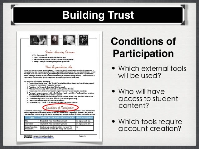 Conditions of Participation • Which external tools will be used? • Who will have access to student content? • Which tools ...