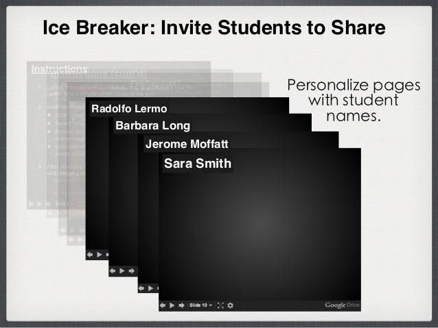 Ice Breaker: Invite Students to Share Sara Smith Barbara Long Radolfo Lermo Jerome Moffatt Personalize pages with student ...