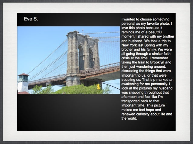 """Following Unit: Reflective Blog Post. •What did you learn about photographic meaning from viewing the """"My Favorite Photogr..."""