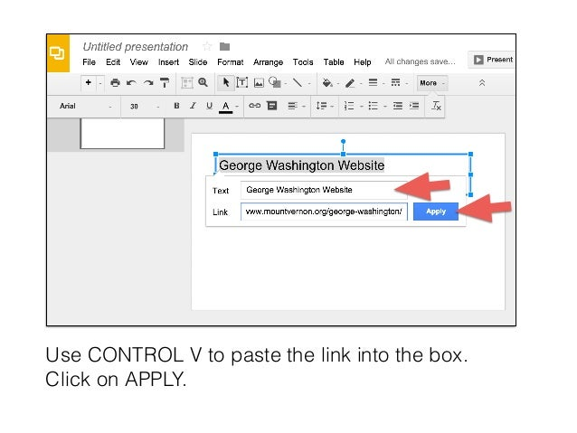 how to insert a hyperlink into a google doc or slide
