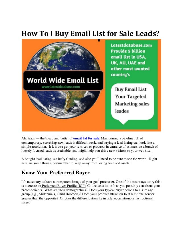 How to i buy email list for sale leads