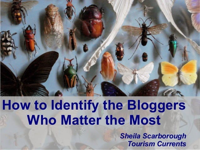 @SheilaS @TourismCurrents How to Identify the Bloggers Who Matter the Most Sheila Scarborough Tourism Currents