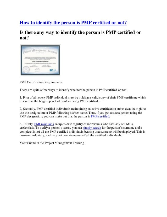 How To Identify The Person Is Pmp Certified Or Not