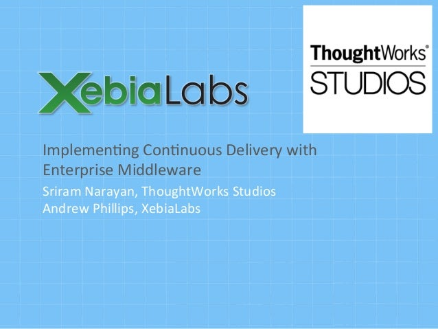 Implemen'ng	   Con'nuous	   Delivery	   with	    Enterprise	   Middleware	    Sriram	   Narayan,	   ThoughtWorks	   Studio...