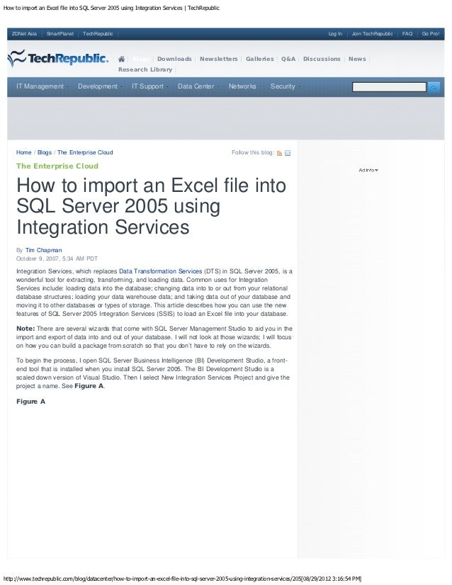 How to import an Excel file into SQL Server 2005 using Integration Services | TechRepublic   ZDNet Asia    SmartPlanet    ...