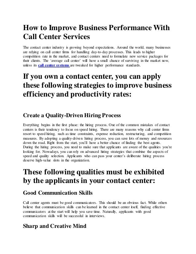 How To Improve Business Performance With Call Center Services