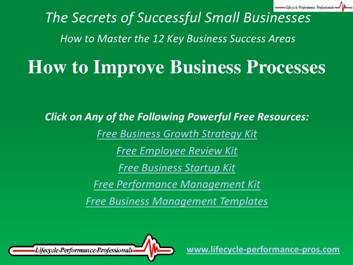 The Secrets of Successful Small Businesses<br />How to Master the 12 Key Business Success Areas<br />How to Improve Busine...